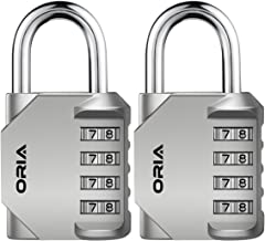 ORIA Combination Lock, 4 Digit Combination Padlock Set, Metal and Plated Steel Material for School, Employee, Gym Or Sport...
