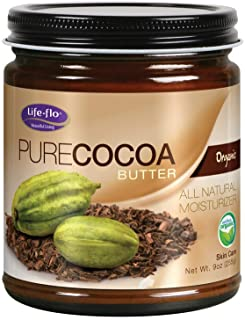 Life-Flo Pure Organic Cocoa Butter | Face & Body Moisturizer for Dry Skin & Scalp, Heels, Elbows, Stretch Marks | 9oz