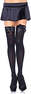 Leg Avenue Women's Satin Bow Accent Thigh Highs