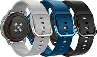 MoKo Band Compatible with Samsung Galaxy Watch Active/Active 2/Galaxy Watch 42mm/Gear S2 Classic/Ticwatch 2/E/Vivoactive 3, [3-Pack] 20mm Silicone Replacement Sport Strap - Gray&Dark Blue&Black