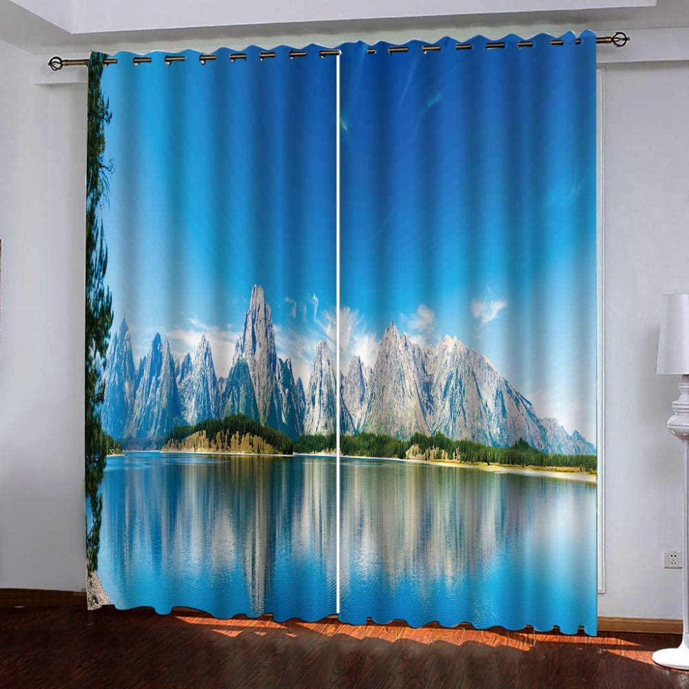 Eyelet Blackout New Washington Mall life Thermal Insulated Snow Curtains, b Mountain