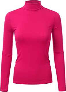Doublju Soft Knit Turtleneck T-Shirt Top for Women with Plus Size