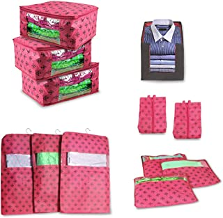 PrettyKrafts Wardrobe Organiser Combo of 12 pcs, Clothes Storage Bags, Combo of Saree Covers Large, Saree Cover Single, Ha...