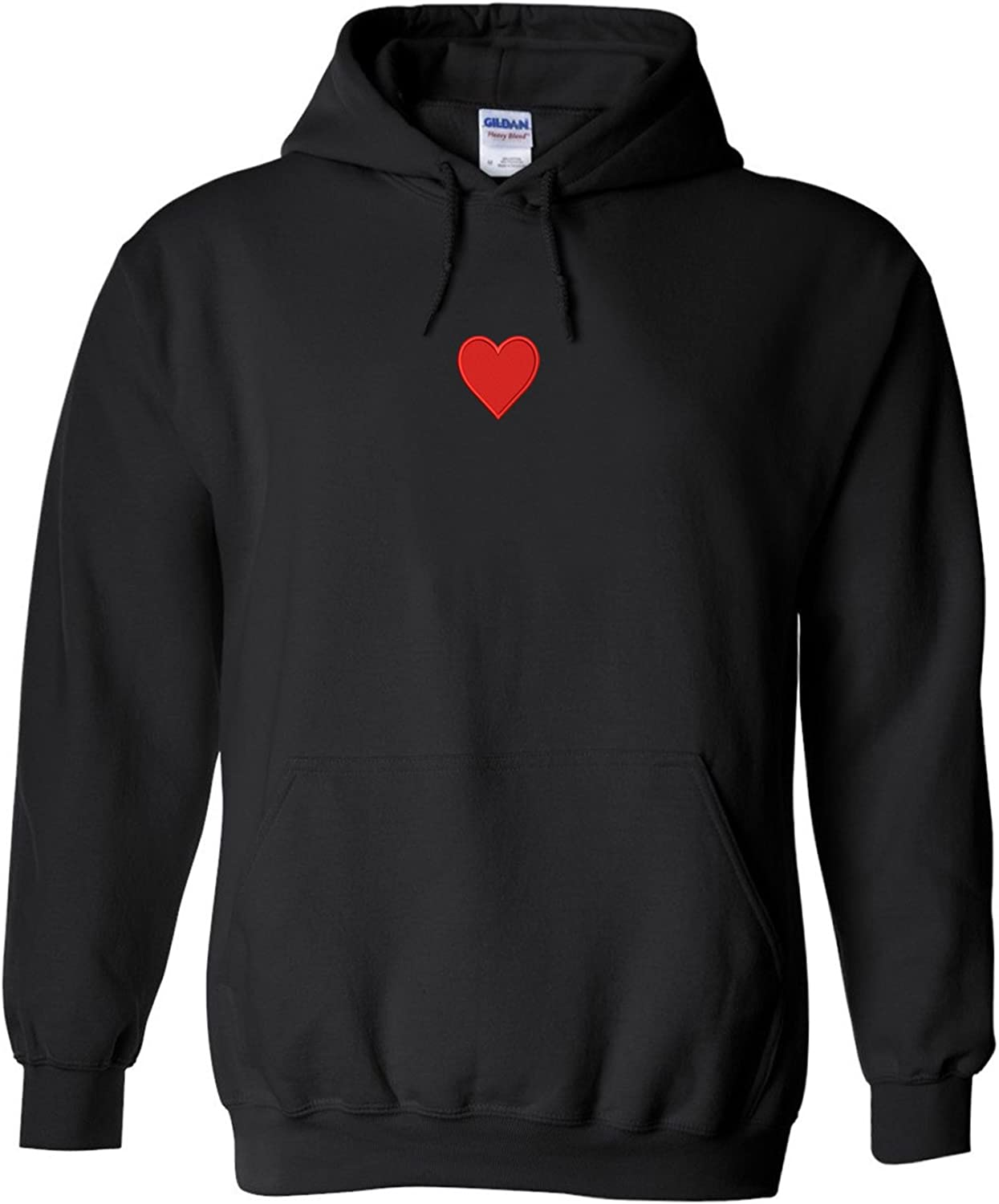 Trendy Apparel Shop Emoticon Heart Embroidered Heavy Blend Hoodie