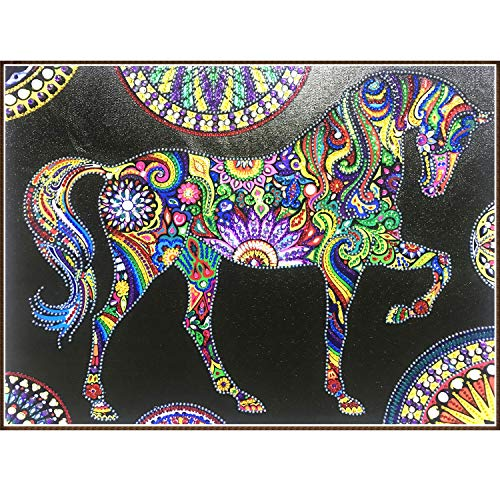 Vienrose DIY 5D Partial Diamond Painting Kits for Adults & Kids 18.5X14.5 in Starry Night and Horse Special Shaped Beads Diamond Arts Paint by Number Kits for Wall Decor Romantic Gifts