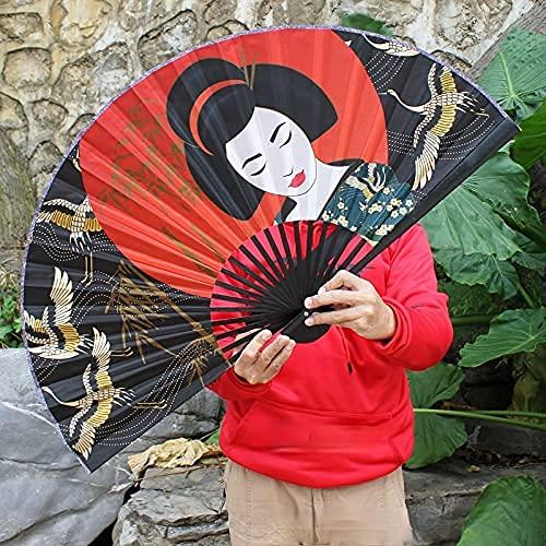 WANBAOAO Hermosa Ventilador Plegable Ventilador Decorativo japonés Tienda de Comida Japonesa Montaje en la Pared Fans Figura Figura Ventilador 50 * 90 cm Ventilador de Tela Plegable Decorativa