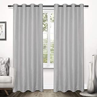 Exclusive Home Curtains Tweed Textured Linen Blackout Window Curtain Panel Pair with Grommet Top, 52x96, Dove Grey, 2 Piece