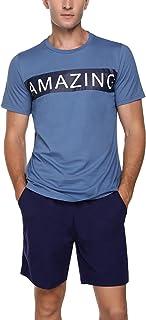 Irevial Men Pjs Pajama Set Cotton Short Sleeve Loungewear Nightwear Sleepwear Top & Shorts Bottoms Outfits