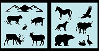 Auto Vynamics - STENCIL-ANIMALS-NAMERICASET01-10 - Detailed Animals of North America Stencil Set - Everything From Rabbits to Horses to Bears! - 10-by-10-inch Sheets - (2) Piece Kit - Pair of Sheets
