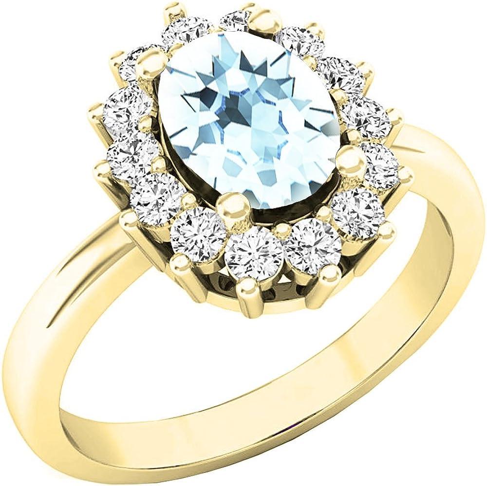 Dazzlingrock Collection 10K 8X6 MM Oval Gemstone & Round White Diamond Halo Bridal Engagement Ring, Yellow Gold