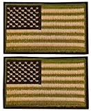 2 Pieces Tactical USA Flag Patch Embroidered American US Flag Tactical Patch Velcro Patch