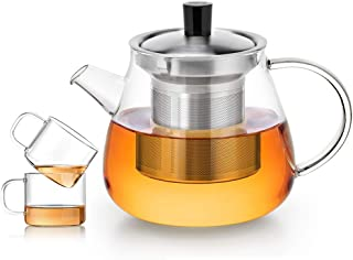 Whygry Fuga de té en la Tetera de Vidrio, 900ml / 31.7 oz Tetera Transparente de Vidrio Resistente al Calor Taza pequeña con asa y Tapa y Filtro de Seguridad de la Estufa