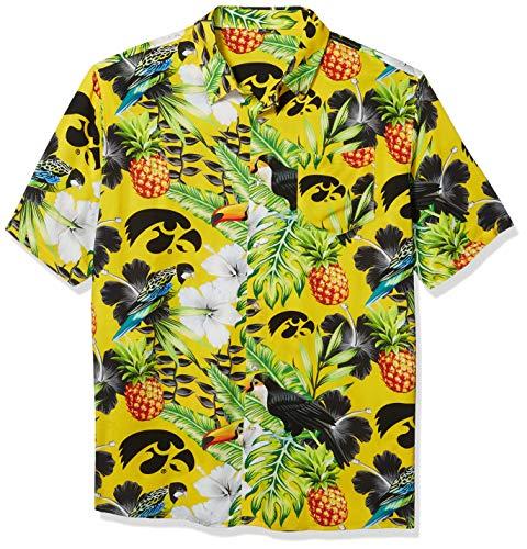 NCAA Iowa Hawkeyes Foco Floral Button Up Shirt, Team Color, XXL