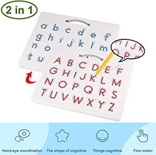 Motiloo Double-Side Magnetic Alphabet Drawing Board Magnetic Letter Tracing Board Educational Learning ABC Letters Toy - Perfect Preschool Gift for Boys and Girls ( Upper Case & Lower Case )