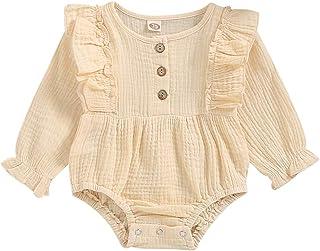 T TALENTBABY Baby Mädchen Rüschen Strampler Baumwolle Leinen Langarm Overall Onsises Triangel Body Outfits Rundhals Baby Strampler Kleidung