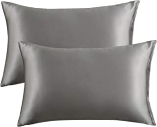 Bedsure Satin King Size Pillow Cases Set of 2, Dark Grey, 20x40 inches - Pillowcase for Hair and Skin - Satin Pillow Covers with Envelope Closure