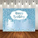 Lofaris Happy Birthday Party Backdrop Sky Blue and Silver Diamonds Women Birthday Background Sweet 16 18th 21th Party Decorations Banner Photo Backdrops 7x5ft