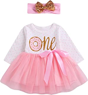 ODASDO Baby Girl First Birthday Dress Donut Print Princess Tutu Tulle Skirt Headband One Year Party Cake Smash Outfit