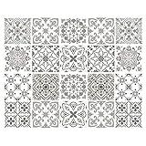 decalmile 20 Piezas Pegatinas de Azulejos 15x15cm Gris y Blanco Marroquí Adhesivo Decorativo para...