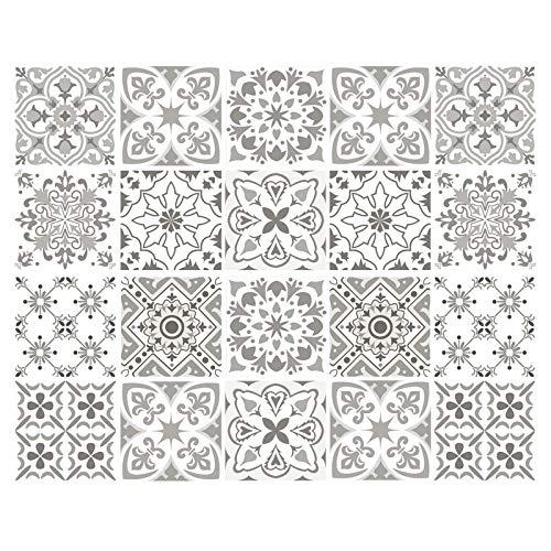 decalmile 20 Piezas Pegatinas de Azulejos 15x15cm Gris y Blanco Marroquí Adhesivo Decorativo para Azulejos Cocina Baño Decoración