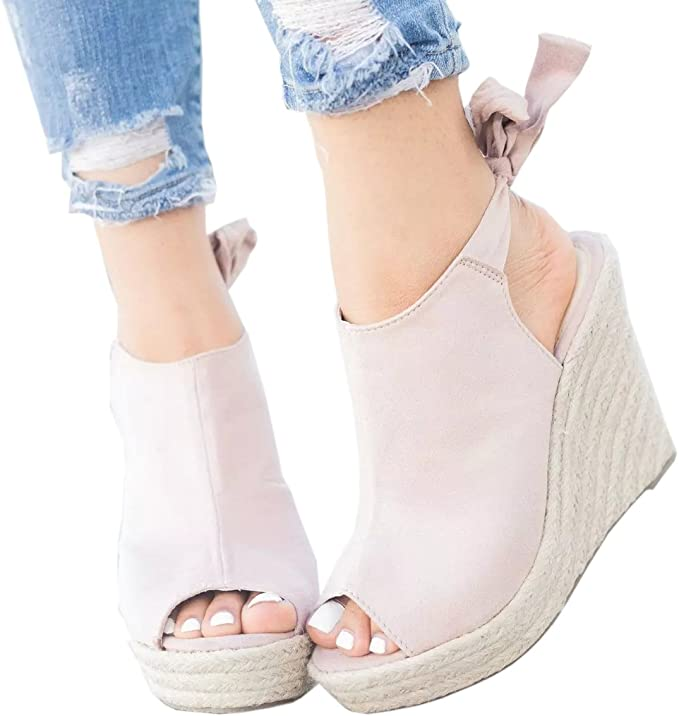 Details about  /Womens Lace Up Slingbacks Sandals Buckle Decor Cut Out High Wedge Heel Shoes Sz