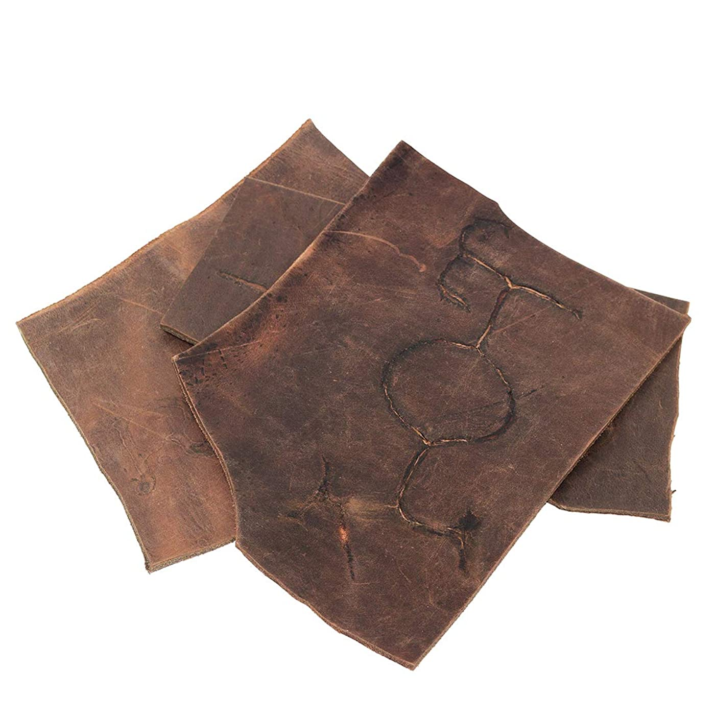Hide & Drink, Thick Leather Scraps with Scars for Arts & Crafts, 8