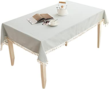LUCKYHOUSEHOME Coffee and White Stripe Tassel Tablecloth Waterproof Rural Small Home Kitchen Dinning Tabletop Table Cover 39