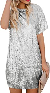 Womens Sparkle Sequin Party Dress Short Sleeve Cocktail Dresse
