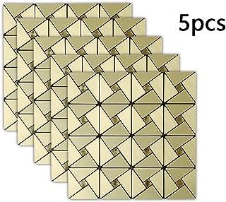 HOYOYO 5pcs Peel and Stick Tile Metal Backsplash, self-Adhesive Removable Background of Metal Mosaics Tiles Sticker Adhesive Decor Wallpaper for Kitchen Living Wash Room, 12