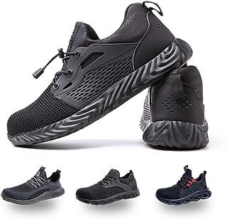 Zapatos de Seguridad Hombre Mujer Trabajo Ligeras Calzado de Seguridad Deportivo Comodo con Punta de Acero Negro Gris Azul...