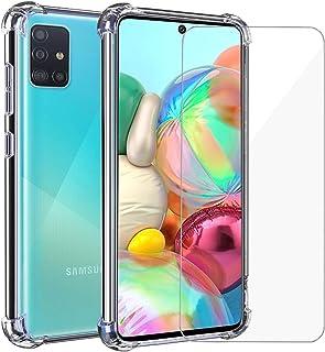 Annhao Funda Samsung Galaxy A71 + Cristal Templado, Transparente TPU Ultrafina Cuatro Esquinas Anti-Caídas Suave Silicona ...