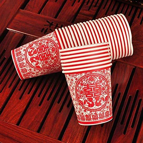 NIUPAN 50 stuks/set wegwerp bekers met Chinese letters patroon afdrukken milieu partij servies bruiloft decoratie