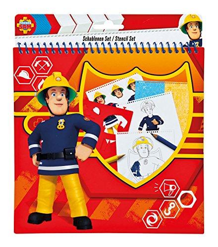 Undercover FSBT1210 - Feuerwehrmann Sam, Schablonenset, 32-teilig, rot