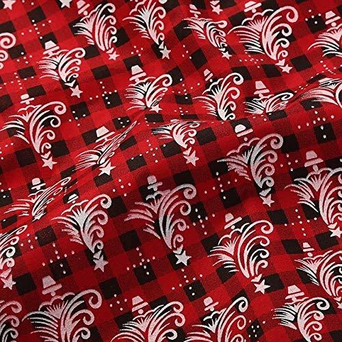 YFB Weihnachtshirschstoff zum Nähen von Baumwolle Polyester Schottischer Stoff Rot für Tischdecke Weihnachtsdekoration für Zuhause TJ0502 50x70cmkleines Stück 3
