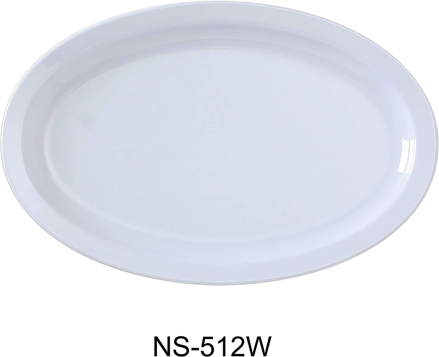 Yanco NS-512W Nessico Oval Platter with Narrow Rim, 8  Width, 11.5  Length, Melamine, White color, Pack of 24