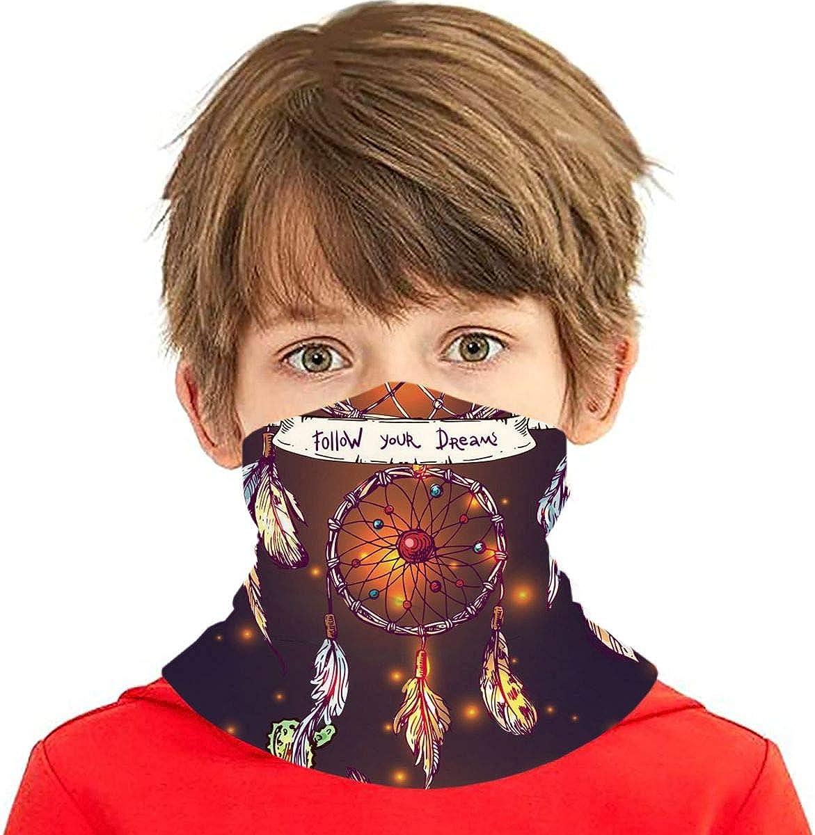 Dujiea Kids Bandanas Face Mask, Dreamcatcher Cactus Dust Sun UV Protection Neck Gaiter Multifunctional Balaclava Face Scarf Summer Tube Headband Lightweight for Boys Girls Outdoors