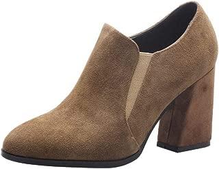 Melady Women Fashion Booties Block Heels Slip on