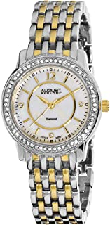 August Steiner Women's Diamond Dress Watch - Crytal Bezel with Mother of Pearl Dial on Two Tone Black and Silver Stainless...