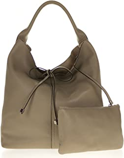 8d6cadedab3 Gianni Chiarini Italian Made Taupe Pebbled Leather Oversize Slouchy Hobo Bag