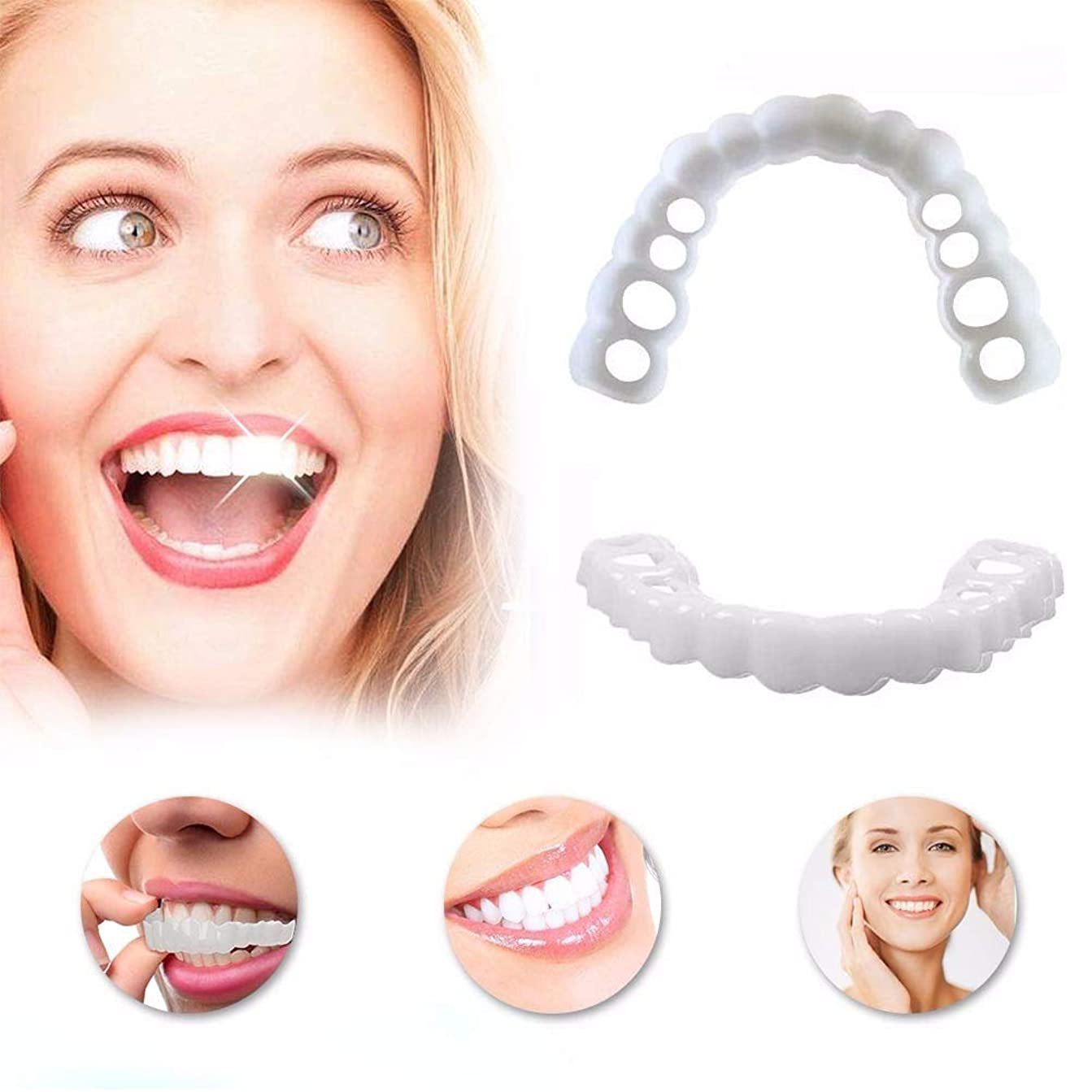 支援維持自治的化粧品の歯の白い美しい端正なスナップインインスタントの完璧な笑顔の快適フィットフレックス歯のベニヤブレース義歯(上下用),7Pairs