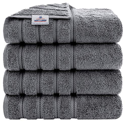 American Soft Linen Premium, 100% Turkish Genuine Cotton Towel Set Luxury Hotel & Spa Quality for Maximum Softness & Absorbency (4-Piece Bath Towel Set, Grey)