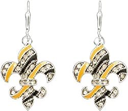 New Orleans Saints Inspired Black & Gold Fleur de Lis Earrings are Embellished with Crystal Rhinestones.WHO DAT!