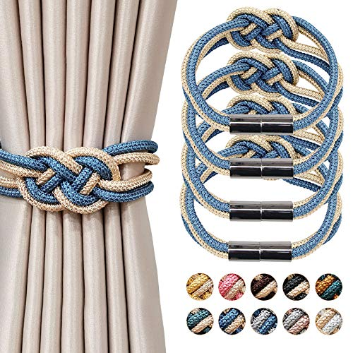 NICEEC 4 Pack Strong Magnetic Curtain Tiebacks Upgrade Nordic Simple Style Drape Tie Backs Double Color Weave Rope Knot Decorative Curtain Holdbacks for Home & Office Window Drapery (Blue and Beige)