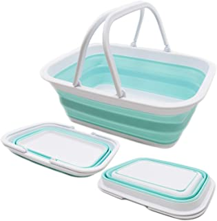 SAMMART 9.2L (2.37Gallon) Collapsible Tub with Handle - Portable Outdoor Picnic Basket/Crater - Foldable Shopping Bag - Sp...