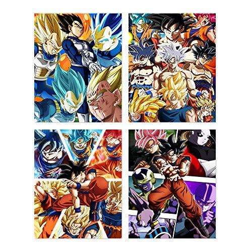 Dragon Ball Z and Super Poster Japanese Manga Anime Son Goku Saiyan Acrylic Prints 8 x 10 inches Wall Art Decoration, Set of 4