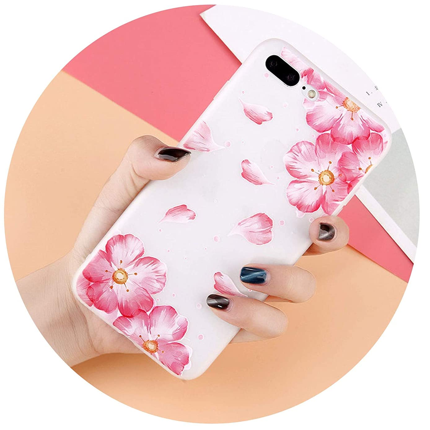 3D Relief Flower Phone Case for iPhone Xs Max XR X 8 7 Plus Floral Cases for iPhone 6S 6 Plus 5 5s SE Soft TPU Back Cover,7554,for 6 Plus 6s Plus
