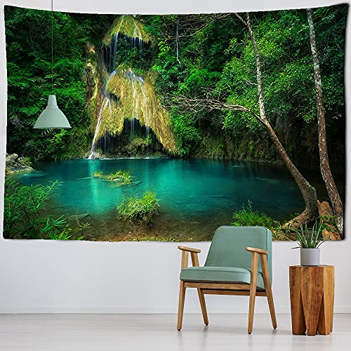 KHKJ Toalla de Playa 3D Paisaje de Cascada Hermoso Flujo de Bosque impresión Manta de Pared Estera de Yoga Tapiz de decoración del hogar A15 95x73cm