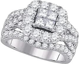 Dazzlingrock Collection 14kt White Gold Womens Princess Diamond Cluster Halo Twist Bridal Wedding Engagement Ring 2-1/2 ctw