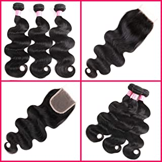 ZILING (14 16 18+14 Free Part) Hair Brazilian Virgin Body Wave Hair Bundles with Closure 8A 100% Unprocessed Brazilian Body Wave Human Hair Weft with Lace Closure Brazilian Body Wave