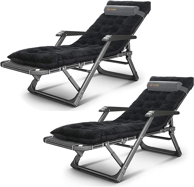 Qz Klappstuhl campingstühle gartenstuhl Zero Gravity Stühle 2er Pack, XL Tragbarer Faltbarer Rasenbalkon Office Lounge Lehnstuhl mit Polster und Armen, Schwarz , Last 200kg